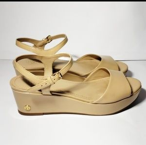 Tory burch ankle strap sandals small wedge 7.5